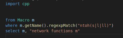 CodeQL示例:查询ntohs、ntohl宏定义