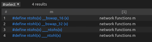 CodeQL输出:查询ntohs、ntohl宏定义